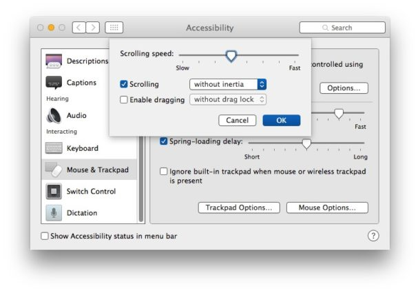 Disable Inertia Scrolling in macOS