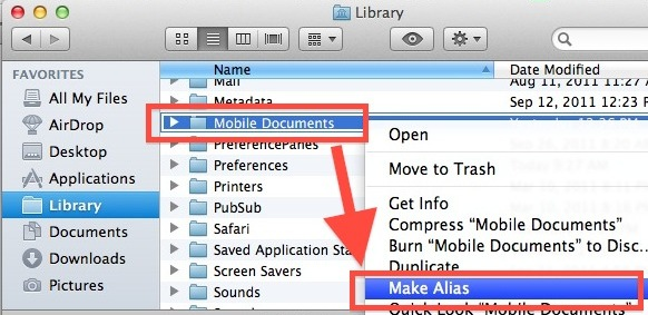 Create alias of Mobile Documents for Easy File Syncing with iCloud