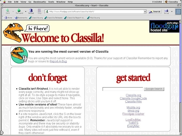 Classilla browser for Mac OS 9