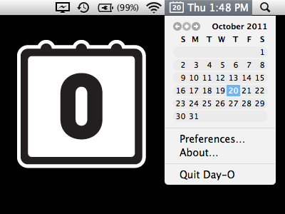 Day-O is a free menu bar calendar and clock replacement for Mac OS X