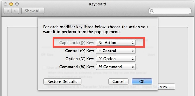 Disable Caps Lock key on a Mac