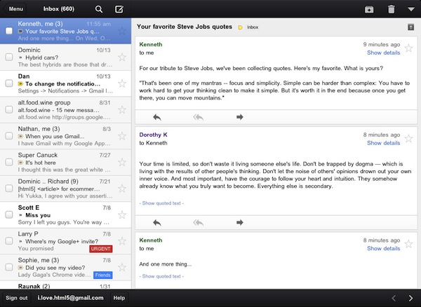 Gmail for iPad screenshot