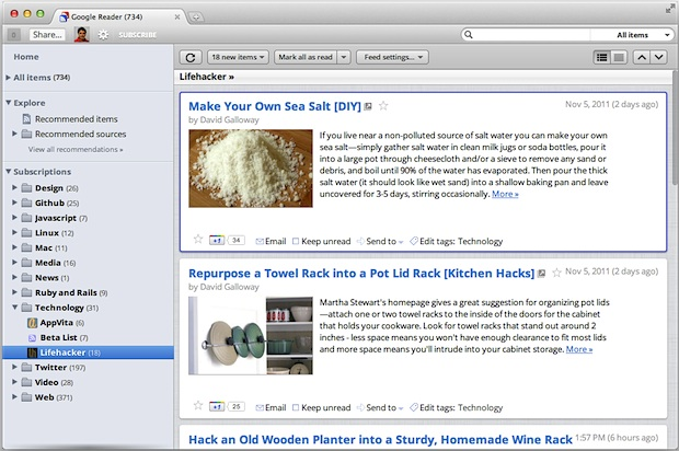 Google Reader Mac OS X Lion Theme