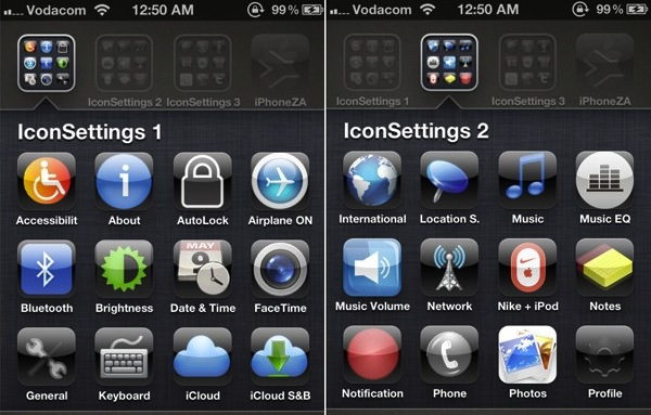 IconSettings is like SBSettings for iPhone and iPad
