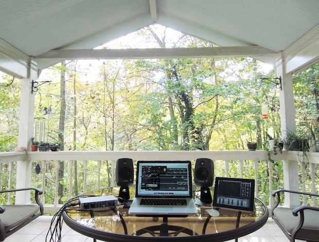 MacBook Pro outdoor music studio