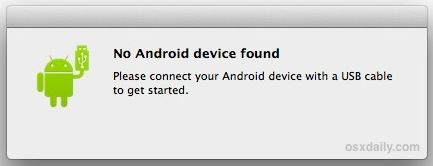 No Android Device Found error