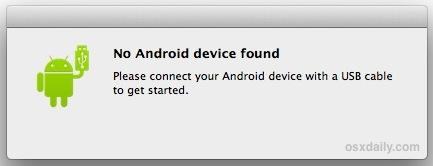 No Android Device Found error