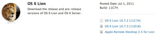Mac OS X Lion 10.7.3 developer build