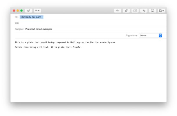 How to send plain text emails on Mac