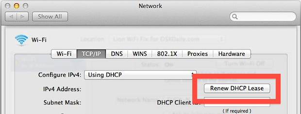 Renew DHCP in Mac OS X Lion