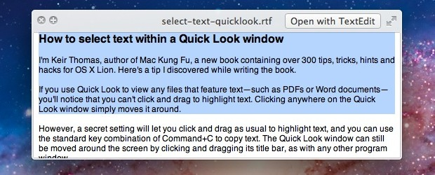 Select Text within QuickLook Windows
