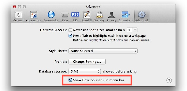 Enable the Develop menu in Safari