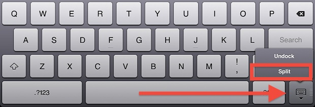 Split iPad keyboard