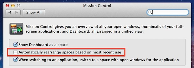 Stop Spaces from Rearranging Themselves in OS X