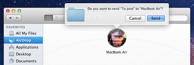 Sending a file through AirDrop in Mac OS X