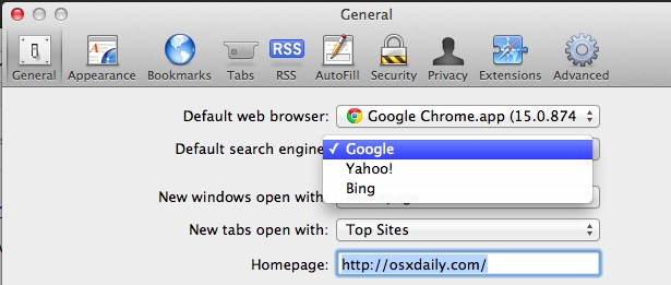 Search default options in Safari