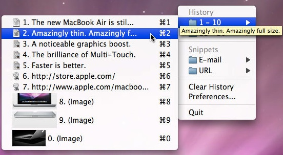 ClipMenu clipboard history manager for Mac OS X