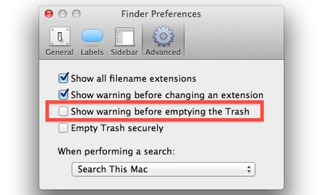 Disable the Empty Trash Warning in Mac OS X