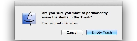 Empty Trash warning in Mac OS X