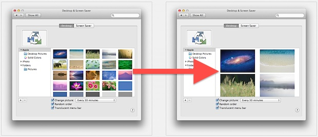 Increase the size of desktop wallpaper thumbnails in Mac OS X Lion