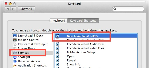 New Terminal at Folder setting in Mac OS X System Preferences