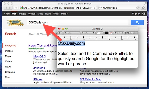 Search Google from TextEdit