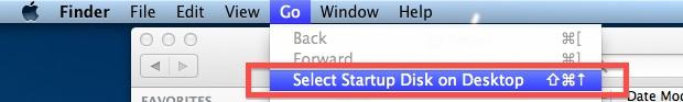 Select Startup disk on the Desktop
