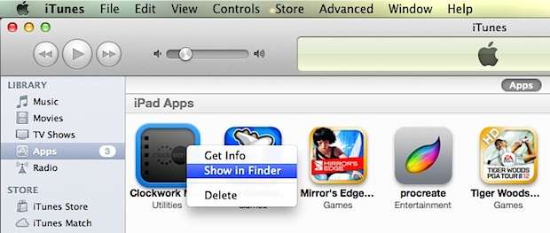Show an iOS app in the Finder