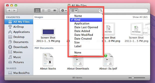 Sort All My Files in OS X Lion
