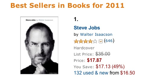 Steve Jobs Biography is 2011 Best Seller