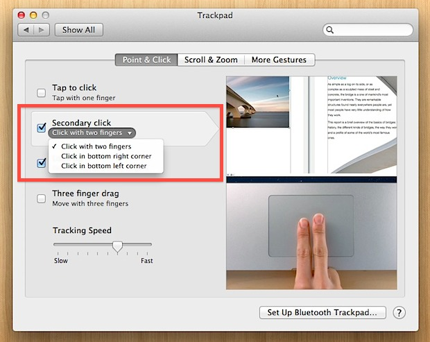 Change the Secondary Click in Mac OS X