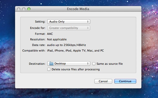 Convert audio to video in Mac OS X