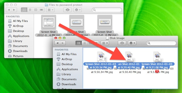 Copying files to protect by password with an encrypted image