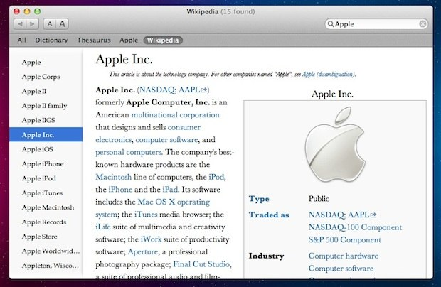 Wikipedia in Dictionary app