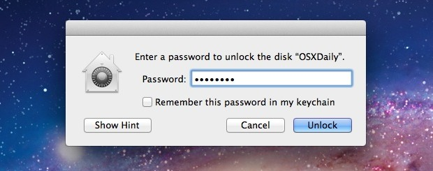 Drive Password in Mac OS X