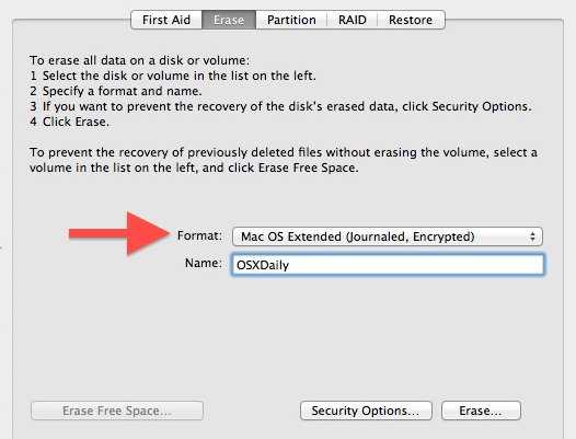 Format as Encrypted Disk to require a password before mounting