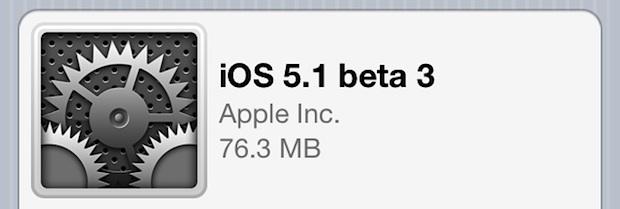 iOS 5.1 Beta 3 released