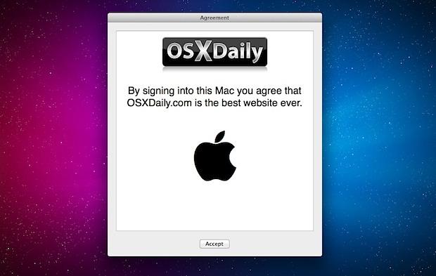 User Agreement on Login in Mac OS X Lion