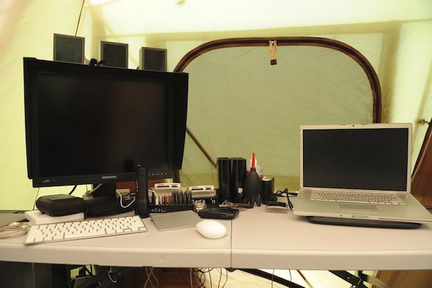 Mac setup in a tent