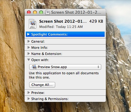 Make Snow Leopard Preview Default in OS X Lion