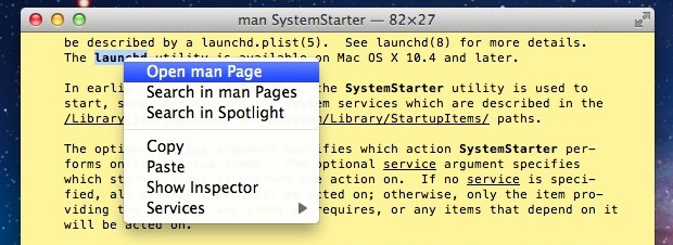 open a man page from the Terminal in OS X