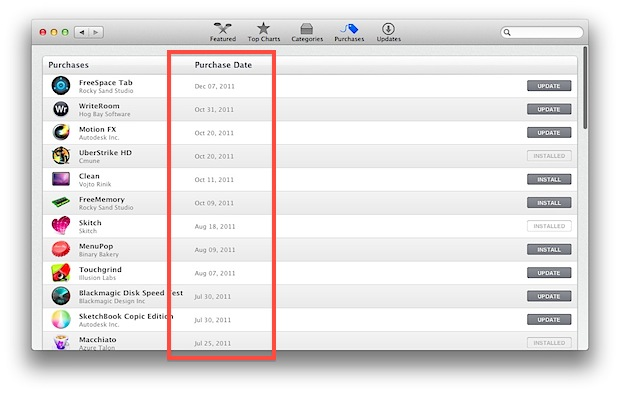 Purchase Date shown in the Mac App Store
