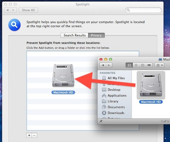 Rebuild Spotlight index in Mac OS X