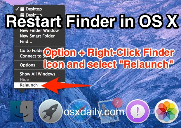 Restart the Finder in Mac OS X
