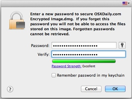 Set a password for the disk image