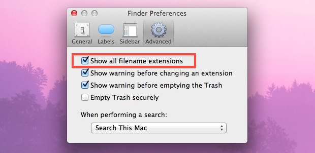 Show Filename Extensions in Mac OS X