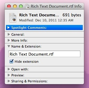 Show a single files extension in Mac OS X