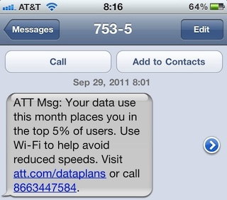 Throttled Data message