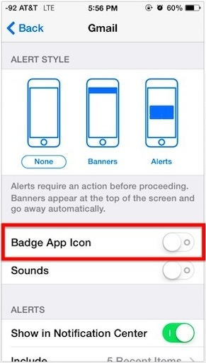 Turning off red badge app icons in iOS