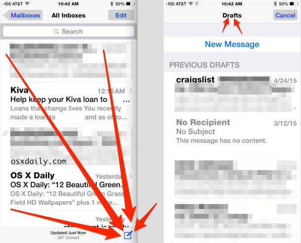 Access email drafts in Mail app for iOS